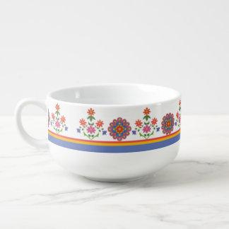 Pretty Rangoli Floral Border Soup Bowl