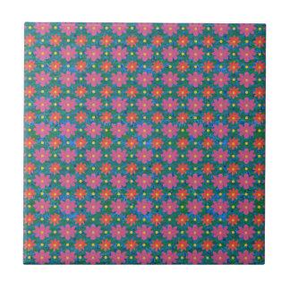 Pretty Rangoli Flowers and Polka Dots Ceramic Tile