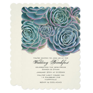 Pretty Real Succulents Wedding Breakfast Card