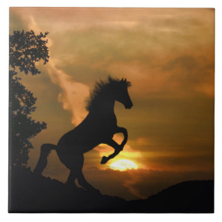 Pretty Rearing Horse Art Tile