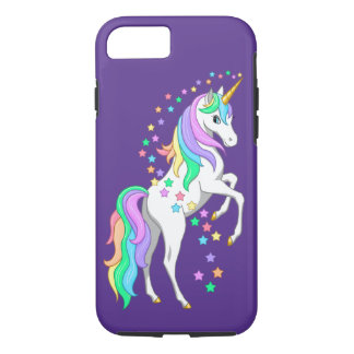 Pretty Rearing Rainbow Unicorn Falling Stars iPhone 8/7 Case