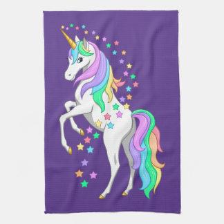 Pretty Rearing Rainbow Unicorn Falling Stars Tea Towel