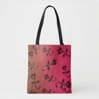 Pretty Red and Black Flower Tote Bag