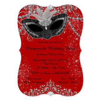 Pretty Red and Black Masquerade Party Card