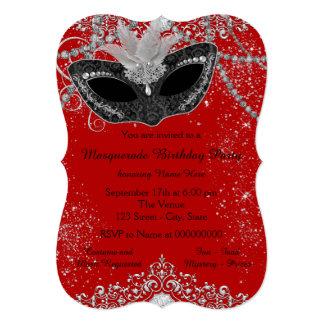 Pretty Red and Black Masquerade Party Custom Invite