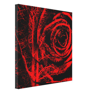 Pretty Red and Black Rose Design Canvas Print