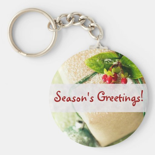 Pretty Red and Green Season Holiday Greetings Key Chain