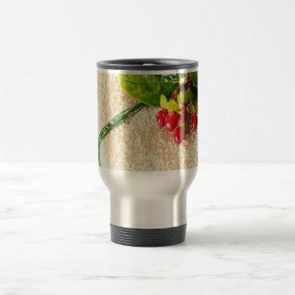 Pretty Red and Green Season Holiday Greetings Coffee Mugs