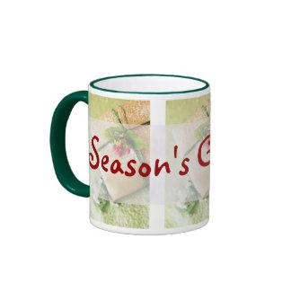 Pretty Red and Green Season Holiday Greetings Coffee Mug