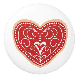 Pretty Red And White Heart Cookies Ceramic Knob