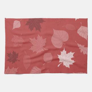 Pretty Red Autumn Leaves Tea Towel