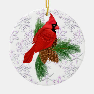 Pretty Red Bird Ceramic Ornament