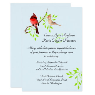 Pretty Red Cardinals Wedding Invitation