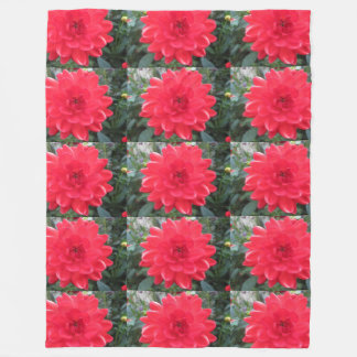 Pretty Red Dahlia Fleece Blanket