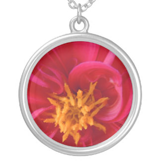 Pretty Red Dahlia Silver Plated Necklace