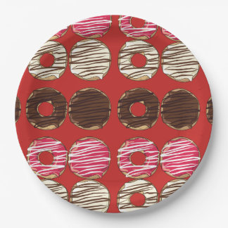 Pretty Red Donuts Pattern Paper Plate