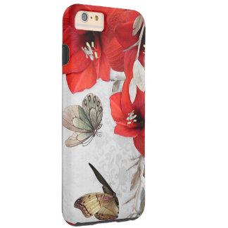 pretty red flowers butterflies case
