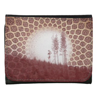 Pretty Red Forest Bohemian Tribal Sun Leather Wallet