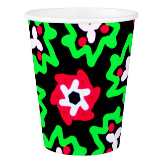 Pretty Red & Green Wreaths Christmas Pattern Paper Cup