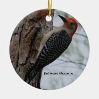 Pretty Red Headed Woodpecker Ornate Ceramic Ornament