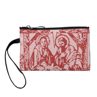 Pretty Red Nativity Coin Wallets