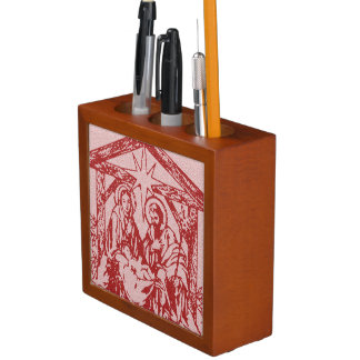 Pretty Red Nativity Desk Organiser