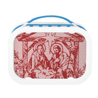 Pretty Red Nativity Lunch Box