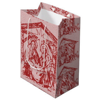 Pretty Red Nativity Medium Gift Bag