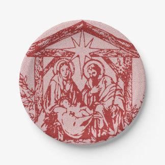 Pretty Red Nativity Paper Plate