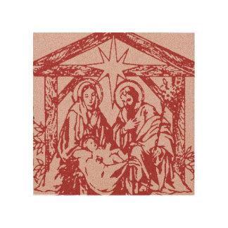 Pretty Red Nativity Wood Wall Art