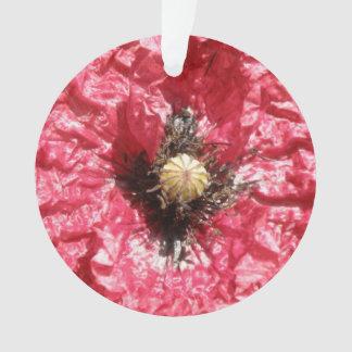 Pretty Red Poppy Flower Macro Acrylic Ornament