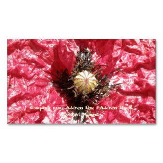 Pretty Red Poppy Flower Macro Custom Business Card Magnetic Business Cards