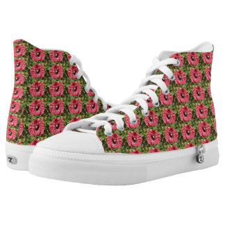 Pretty Red Poppy Flower Macro High Top Shoes