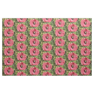 Pretty Red Poppy Flower Macro Patterned Animal Fabric