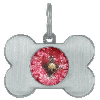 Pretty Red Poppy Flower Macro Pet Tag