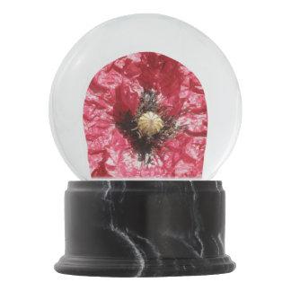 Pretty Red Poppy Flower Macro Snow Globe Snow Globes