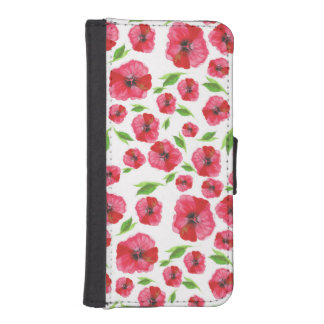 Pretty Red Poppy Watercolor Pattern Girly Floral