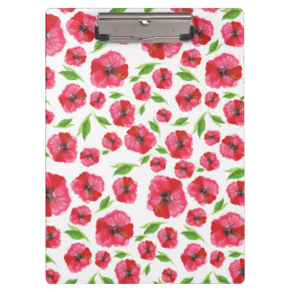 Pretty Red Poppy Watercolor Pattern Girly Floral Clipboard
