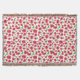 Pretty Red Poppy Watercolor Pattern Girly Floral Throw Blanket
