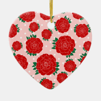 Pretty Red Roses Ceramic Heart Decoration