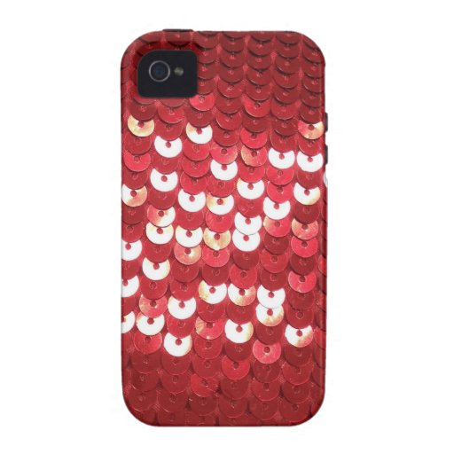 Pretty Red Sequined Fabric iPhone 4/4S Case