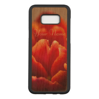 Pretty Red Tulip Petals. Add Your Name. Carved Samsung Galaxy S8+ Case