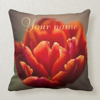 Pretty Red Tulip Petals. Add Your Name. Cushion
