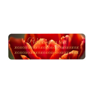 Pretty Red Tulip Petals photo. Add Name or Text. Return Address Label