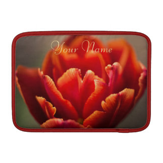 Pretty Red Tulip Petals photo. Add Your Name. MacBook Sleeve