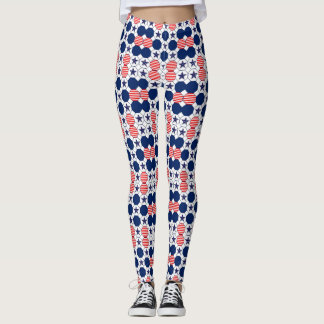 Pretty Red White Blue Star Pattern Leggings
