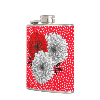 Pretty Red  White Flowers And Polka Dot Design Hip Flask