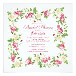 "Pretty Red & White Rose Floral Bridal Shower 5.25"" Square Invitation Card"