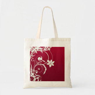 Pretty Red & White Swirly Flower Design Bag