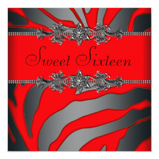 Pretty Red Zebra Sweet Sixteen Birthday Party 13 Cm X 13 Cm Square Invitation Card
